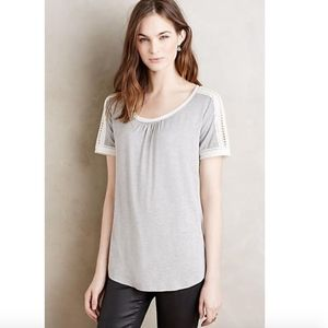 Meadow Rue Anthropologie Lace-Trimmed Tee